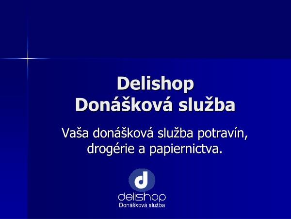 Úvodná strana z viacstranovej prezentácie Delishopu v Power Pointe.